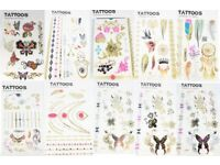 Boys Girls Gold Silver Temporary Body Tattoo Methallic Henna Jewellery Sticker Bohemian Bulk JobLot