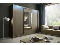 🔵⚫BLACK AND WHITE🔵⚫ 3 Door Luxury Sliding Wardrobe Cupboard with Full Mirror