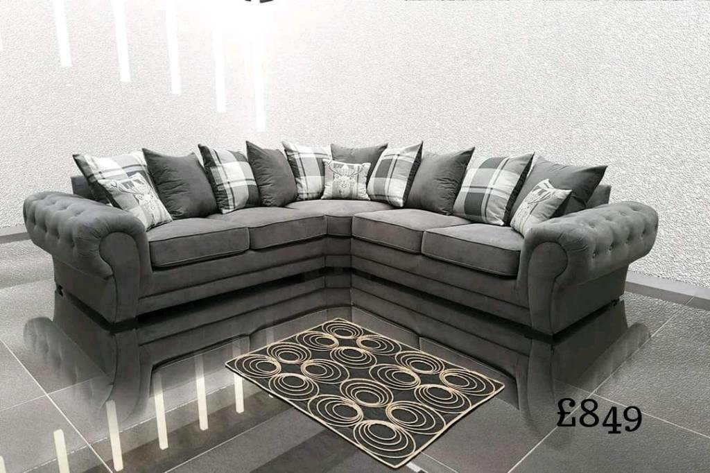 Brand New Luxury Corner Sofas 3 2 Sofa Sets Cuddle Chair Leather Fabric Fast Delivery