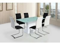 NEW Stunning White High Gloss Dining Table With Glass Top & 6 Contrasting Leather Chairs