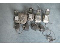 4 Panasonic cordless phones and answer machine including all chargers and leads in working order.