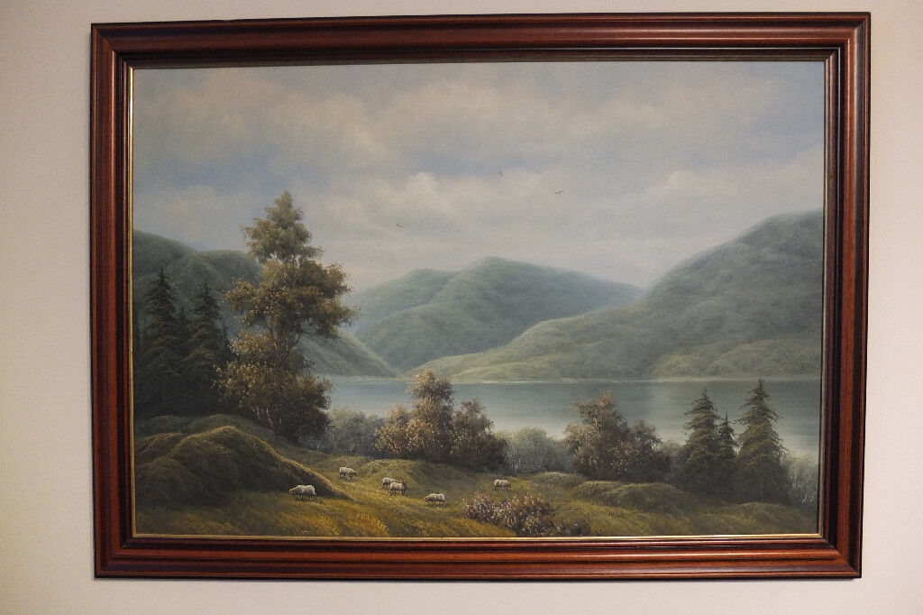 LARGE LANDSCAPE OIL PAINTING ON CANVAS MAHOGANY FRAME VERY GOOD ...
