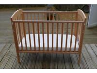 Mothercare cot bed with mattress for sale in excellent condition
