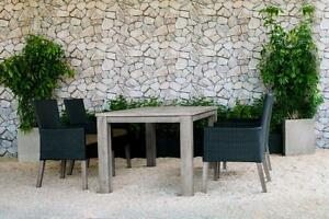 Champagne Weathered Teak Table with Four Dark Chocolate Wicker Chairs