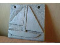 Arts & craft solid cut metal boat decorated tile