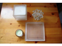 Large cube candle in holder; candle stand; candle holder & tea light in holder. £3 ovno the lot.