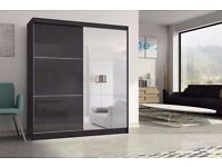 Brand New 2 Door High Gloss Sliding Mirror Wardrobe with Shelves, Hanging Rails Cupboard Black/White
