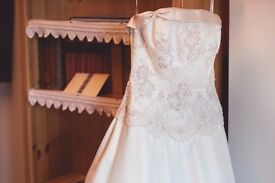 Eddy K. (Milan) Ivory Satin Wedding Dress with lace details size 8-10