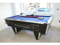SUPREME WINNER POOL TABLE BLACK ASH/BLUE 6X3 FREE PLAY OR COIN