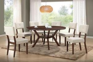 PETERBOROUGH SALE FOR BOXING DAY 2017 | ROUND DINNING TABLE WITH 6 CHAIRS IN BEIGE| AT KITCHEN AND COUCH(BD-107)