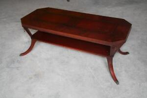 Vintage Cherry & Leather Insert Coffee Table