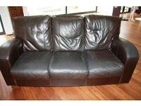 2 x three seater brown leather sofas - From Furniture Village
