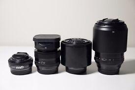 Fujifilm lenses - 90mm, 60mm, 35mm, 27mm for X-Pro, X-T2 etc