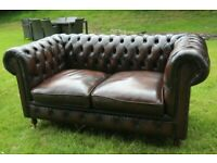2 seater chesterfield brown leather sofa and armchair