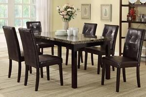 7PCS  FAUX MARBLE  DINING  TABLE SET $499  LOWEST PRICES GUARANTEED JUST A FEW LEFT