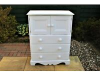 Solid Pine 3 Drawer White Chest of Drawers