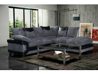 🔴QUICK DELIVERY ON DOOR STEP🔵-DINO JUMBO CORD FABRIC CORNER SOFA SUITE - 3 and 2 SEATER