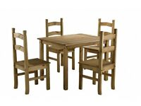 New Solid Corona Mexican Pine Dining table with 4 chairs Only £145 IN STOCK NOW