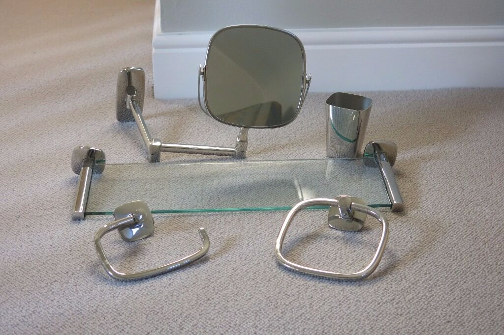 Robert Welch Burford Bathroom Shelf Extending Mirror Towel Ring Toilet Roll Holder And