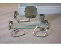 Robert Welch Burford Bathroom shelf, extending mirror, towel ring, toilet roll holder and beaker
