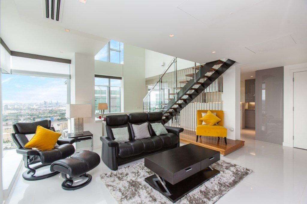 42nd Floor Luxury Duplex 2 Bed Bath Pan Peninsula E14 Canary Wharf Docklands South Quay