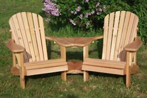 Amish Handcrafted Weather Resistant White Cedar Gossip Tete-a-Tete Double Adirondack Muskoka Chairs - FREE SHIPPING