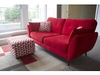 Modern Designer French Connection 3 seater Red Sofa + Footstool (48H DELIVERY)