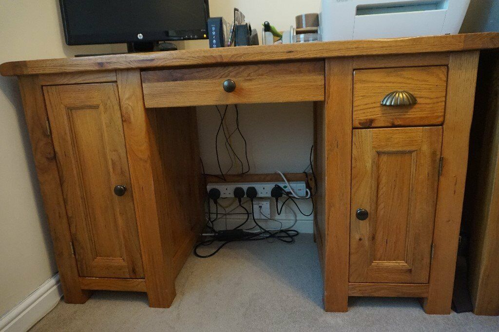 Solid oak computer desk and single filing cabinet