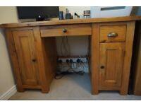 Solid oak computer desk and single filing cabinet