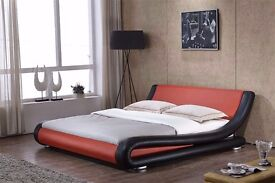 Red and black leather bed KINGSIZE