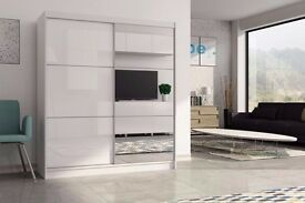 SAME DAY DELIVERY == ASHFORD High Gloss Sliding Door Wardrobe in Black / White -BRAND NEW!