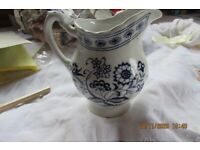 """VINTAGE J & G """" LARGE JUG CLASSIC WHITE- BLUE FLORAL APPROXIMATE 4.1/2""""TALL"""