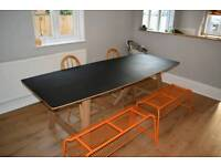 Large trestle dining table