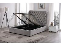 💫 BRAND NEW 💫 DOUBLE VELVET BUTTERFLY STORAGE OTTOMAN GAS LIFT UP BED FRAME ON SPECIAL OFFER