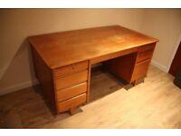 Antique vintage solid wood pedestal desk office furniture
