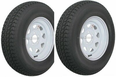 2 Pack Trailer Wheel  Tire 420 ST20575D15 20575 D 15 LRC 5 Hole White Spoke
