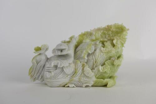 HAND-CARVED JADEITE OF A CABBAGE