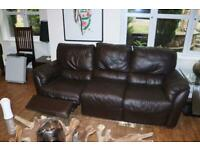 Beautiful brown recliner leather sofa and arm chair. hardly used. Delivery available. Purchased£1400