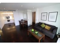25th floor one bedroom flat in Pan Peninsula, south facing balcony, fitted wardrobes, gym, porter
