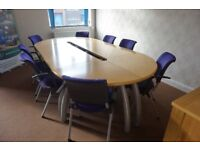 Conference Table Modular Oval Sven Christensen - Beech with 8 HAG Conventio Chairs