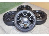 "Genuine FIAT 500 Abarth 16"" Alloy wheels & Tyres 4x98 Pop Lounge Panda Black"