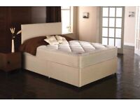 FABRIC DIVAN BED SET WITH MEMORY FOAM MATTRESS AND HEADBOARD DOUBLE KING SINGLE
