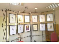 Popup spaceframe photographic, art, exhibition display stand - complete system