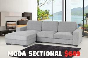 MODA SOFA RANGE STARTS FROM $299 /  MODA SECTIONAL: $649