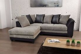 Byron Jumbo Cord Corner Group Sofa Black and Charcoal Right or Left (Jumbo Black Left / Right)