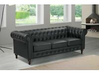 SALE ON FURNITURE- CHESTERFIELD PU LEATHER SOFA 3 SEATER-CASH ON DELIVERY