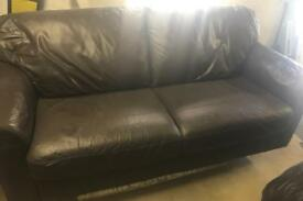 Brown Leather 2/3 Seater Sofa