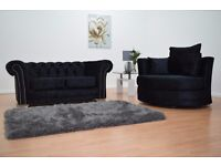 Black Velvet Chesterfield Sofa and Cuddle Chair set - Free Delivery