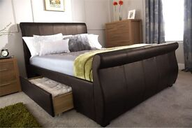 Brown leather king size bed - brand new and still in boxes