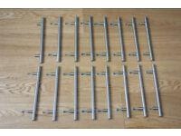 16 Kitchen Cupboard Cabinet T-Bar Door Handles, Brushed Stainless Steel, 160mm